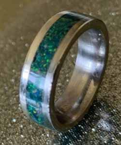Handmade Crushed Opal Inlay Ring on Titanium Comfort Core | The Magic of Woodturning Image