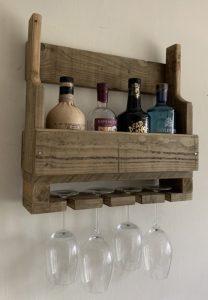 Wall mounted rustic wooden Gin/Wine rack glass holder | HandMadeByJoe Image
