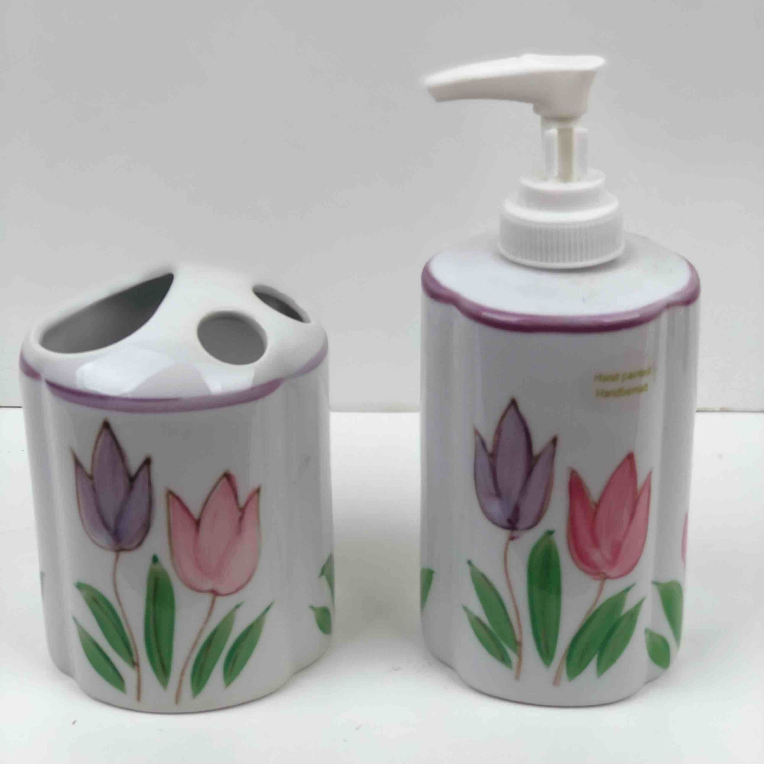 Set of hand painted soap pump and toothbrush holder | Kezroo Image